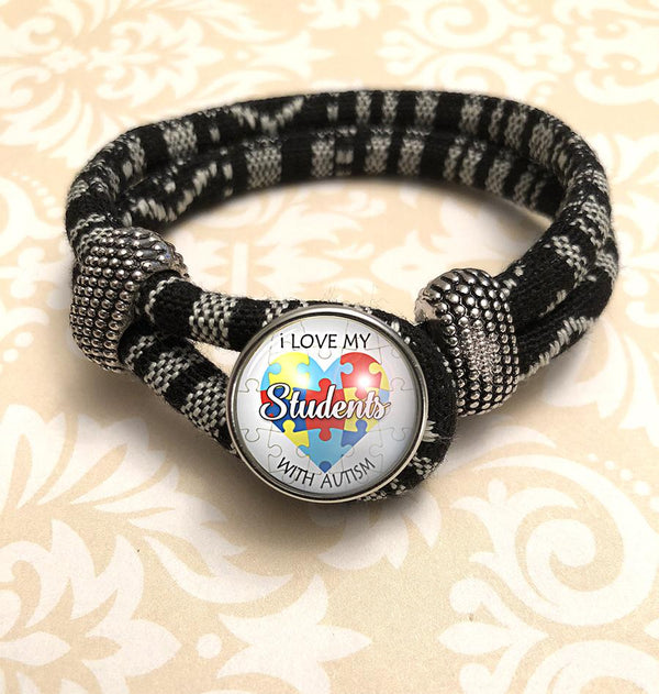 "Zebra Black & White Autism Awareness ""I Love My Students"" Bracelet"