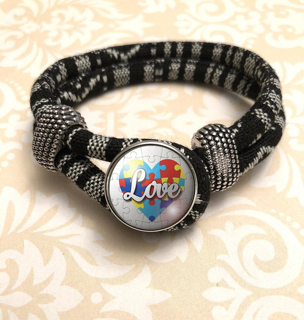"Zebra Black & White Autism Awareness ""Love"" Bracelet"