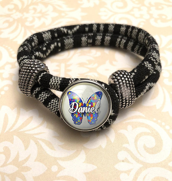 "Zebra Black & White Personalized ""Autism Awareness Butterfly"" Bracelet"