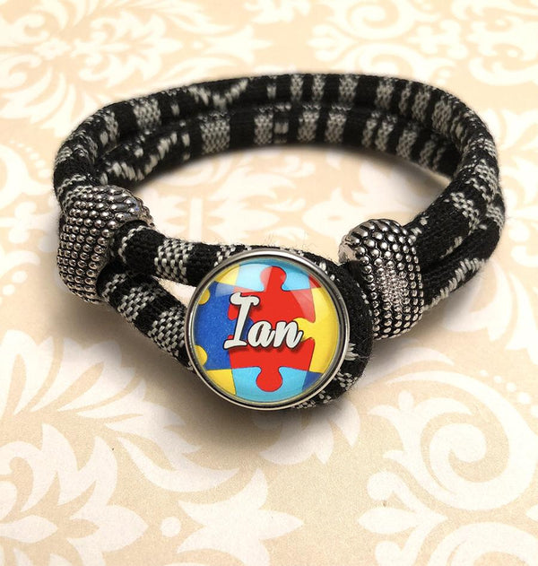 "Zebra Black & White Personalized ""Autism Awareness Puzzle"" Bracelet"