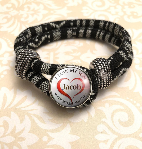 "Zebra Black & White Personalized ""I Love My Son with Special Abilities"" Bracelet"