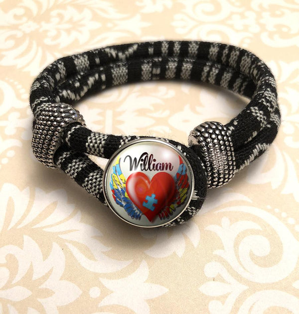 "Zebra Black & White Personalized ""My Child is an Angel"" Bracelet"