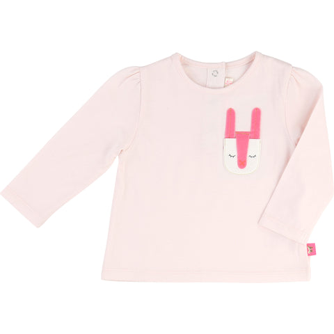 Long-Sleeved Pink Tee With Pocket Detail