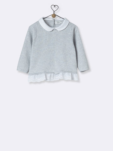 Grey Pullover With Lace Detail Trim