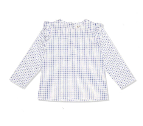 White and Blue Check Frilly Shirt