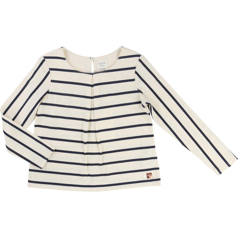 Cream And Navy Striped Tee