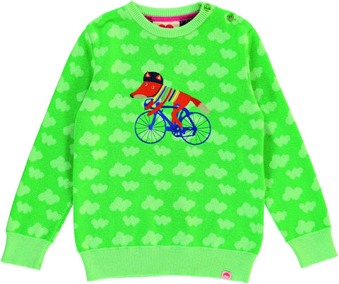 LA PLAGE Animal Jacquard knit jumper / APPLE GREEN