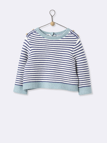 Navy And White Striped Knitted Sweater
