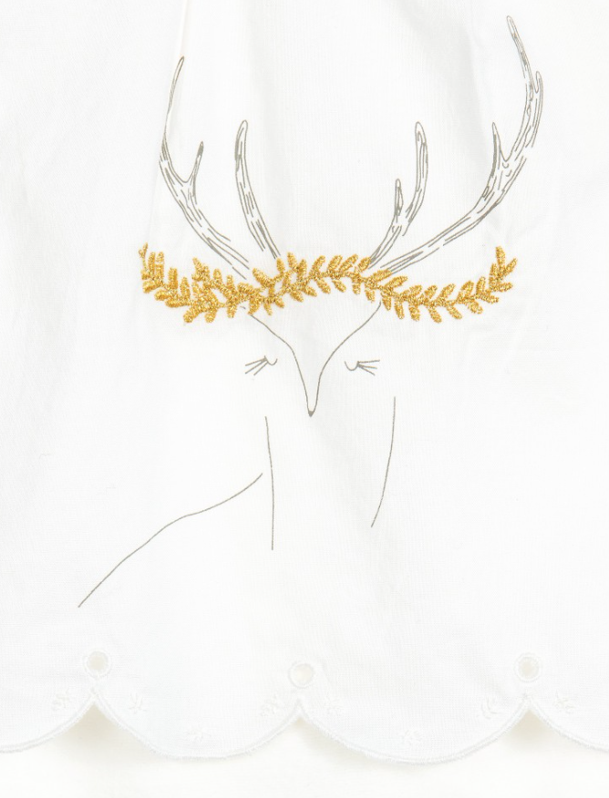 Cream Baby Pyjama With Stag Detail