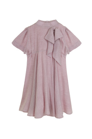Crepe Pink Dress With Bow Detail