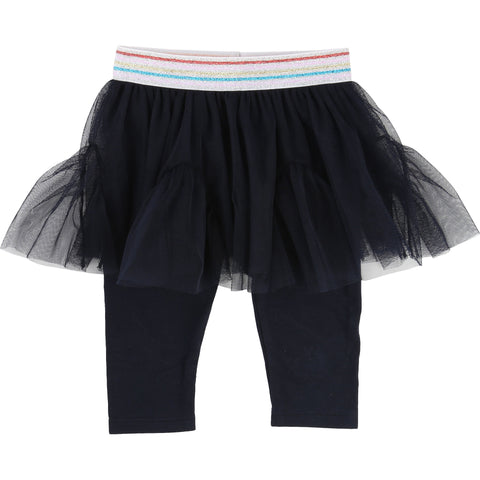 Navy Tulle Skirt With Black Leggings