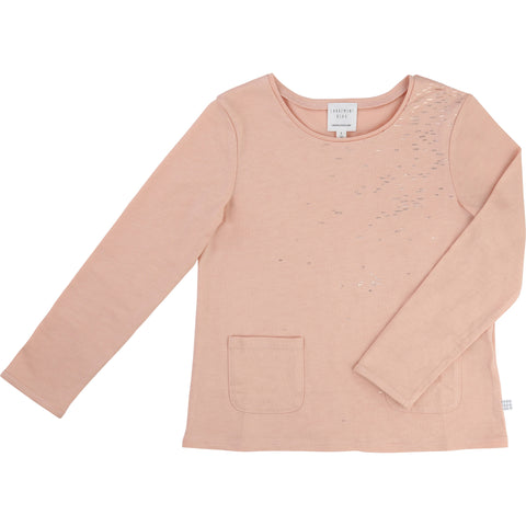 Long Sleeved Pink Tee With Metallic Detail