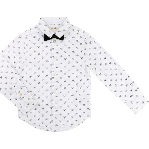Baby Dog Print Shirt With Bow Tie