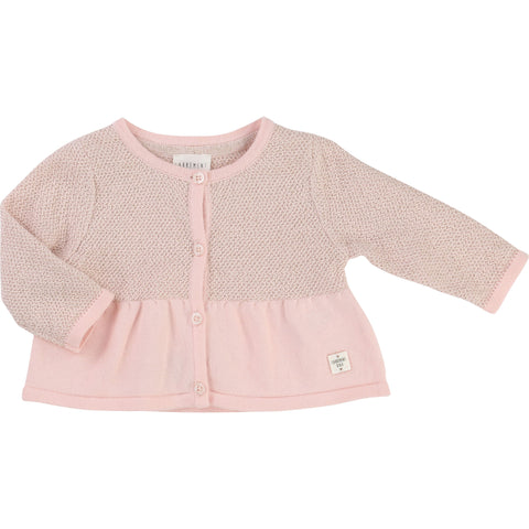 Pale pink knitted cardigan baby
