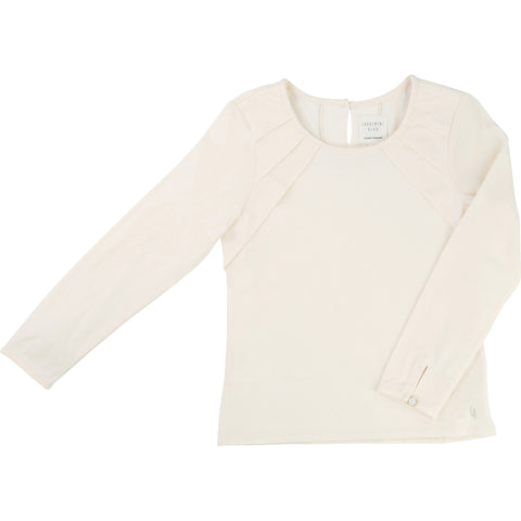 Cream Long-Sleeved Tee With Pleat Detail