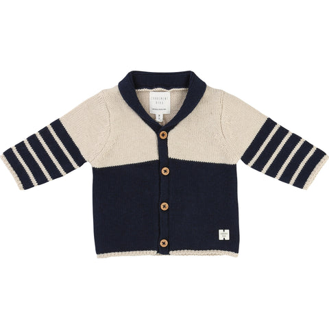 Navy And Cream Cardigan