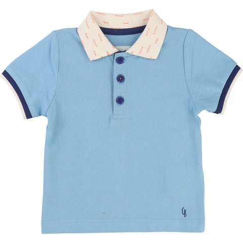 Blue Polo with collar detail