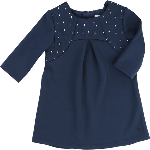 Navy With Silver Detailing Baby Dress