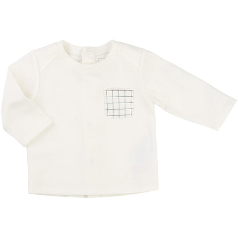 Long Sleeved White Tee With Checked Pocket
