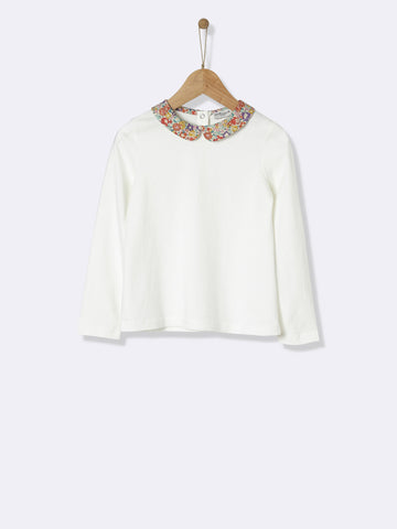Long Sleeved White Tee With Liberty Print Collar