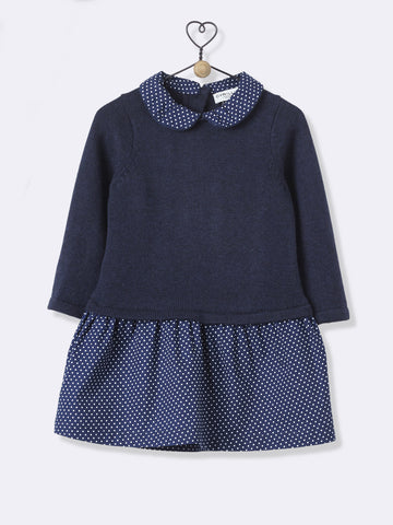 Navy Jumper Dress With Polka-Dot Skirt And Collar
