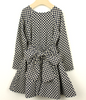 Brown Dotty Tuck Dress