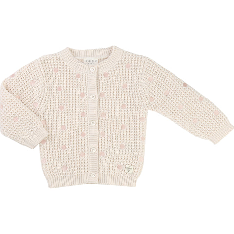 Cream And Pink Polka Dot Cardigan