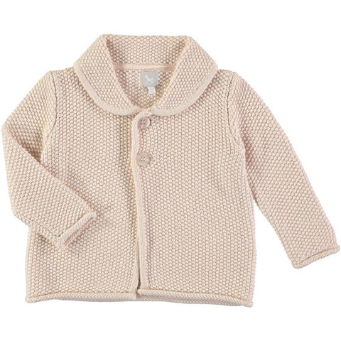 Garter Stitch Cardigan in Soft Pink