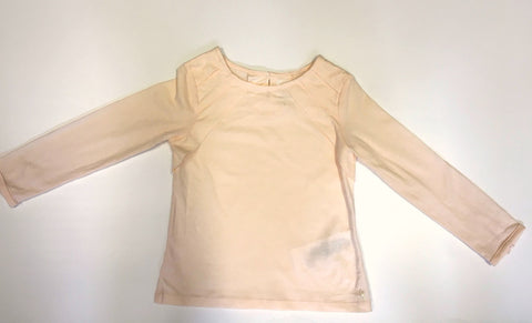 Pink Long-Sleeved Tee With Pleat Detail