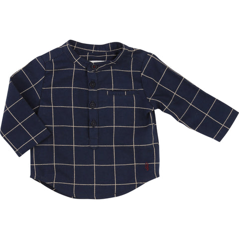 Crew Neck Checked Shirt