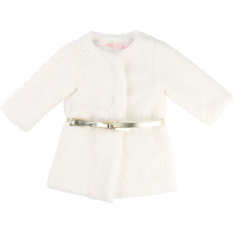 Cream Faux Fur Coat With Gold Belt