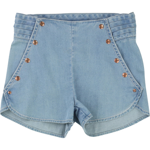 Blue Denim Look Shorts
