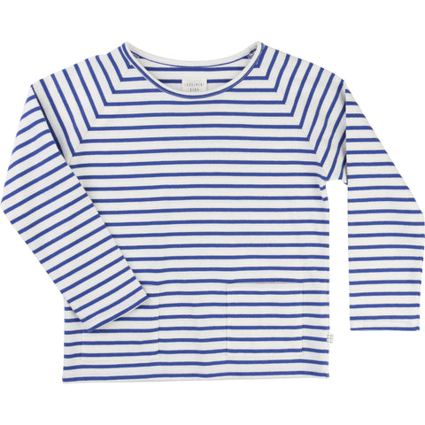 Blue and white striped jersey tee