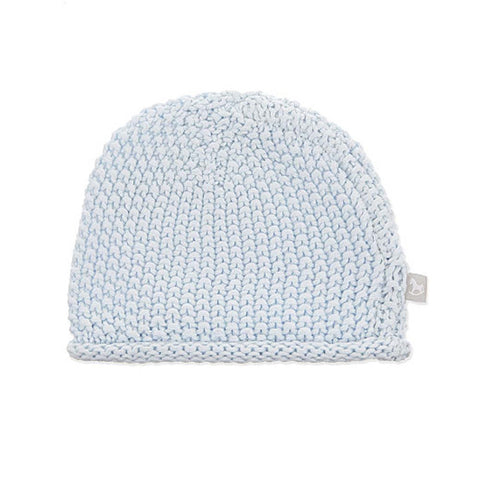 Blue Knitted Bobble Stitch Hat