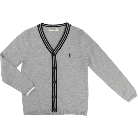 Grey Cardigan With Dog Logo