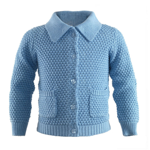 Blue Moss Stitch Cardigan