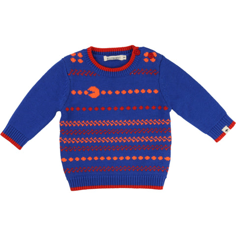 Baby Blue And Orange Pac Man Knitted Jumper