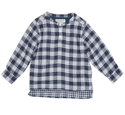 Blue Check Grandad Shirt