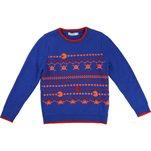Blue And Orange Pac Man Knitted Jumper