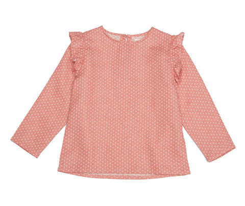 Dotty Pink Frilly Shirt