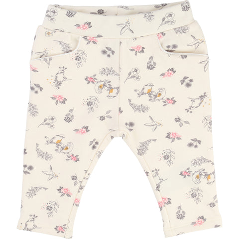 Cream Floral and Bird Print Bottoms