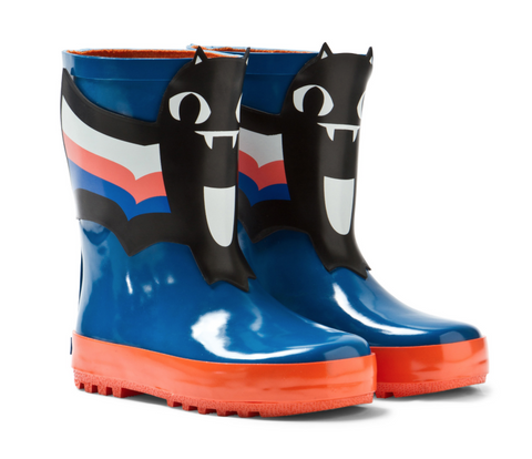 Blue And Orange Bat Wellies