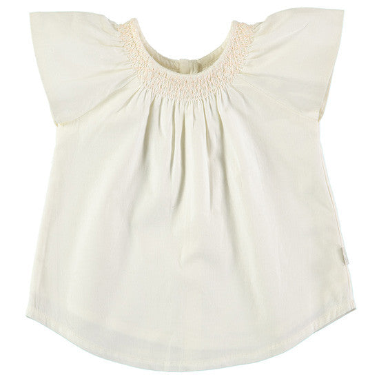 Cotton Summer Cream Neck Detail Top