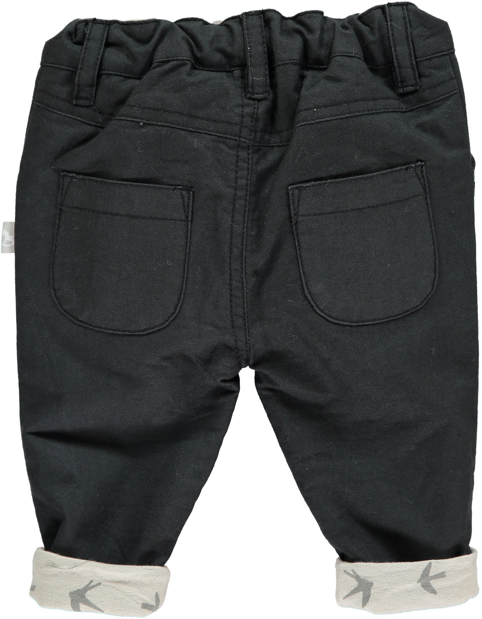 Charcoal Trousers With Swallow Print Lining