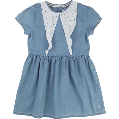 Blue Cotton Denim Look Dress
