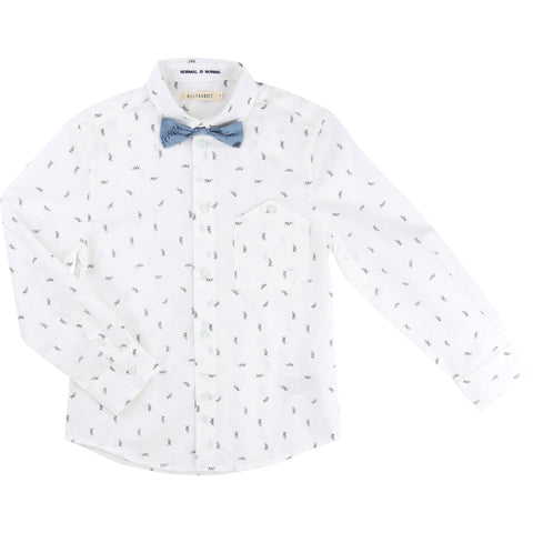 Yeah Print Shirt with Blue Bow Tie