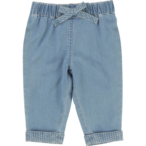 Denim Look Blue Trousers With Spotty Turn-ups