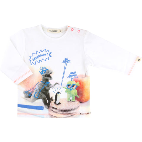 Dinosaur Long-Sleeved White Tee