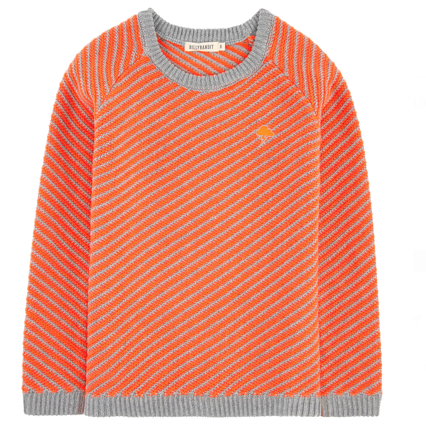 Grey And Orange Knitted Jumper