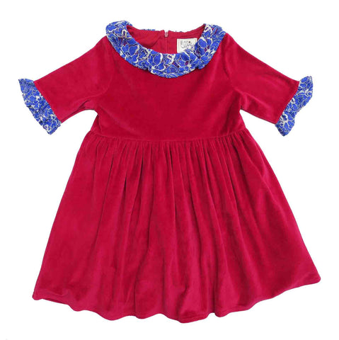 Red Dress With Blue Collar and Cuffs